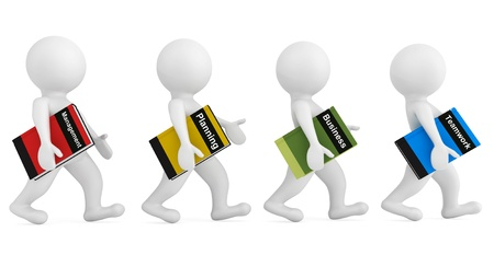 small business team: 3d persons with Business Books on a white background