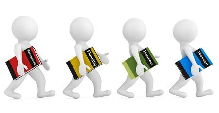 empleos: Personas 3d con libros de negocios sobre un fondo blanco