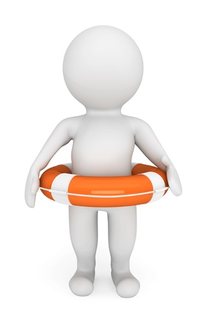 3d person with life-buoy on a white background photo