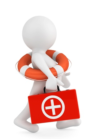 firstaid: 3d person with lifebuoy ring and first aid box on a white background Stock Photo