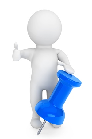 3d person with blue thumbtack on a white background photo