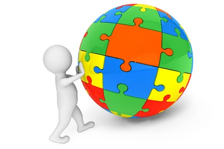 puzzle globe: 3d person with Sphere from Color Puzzles on a white background Stock Photo