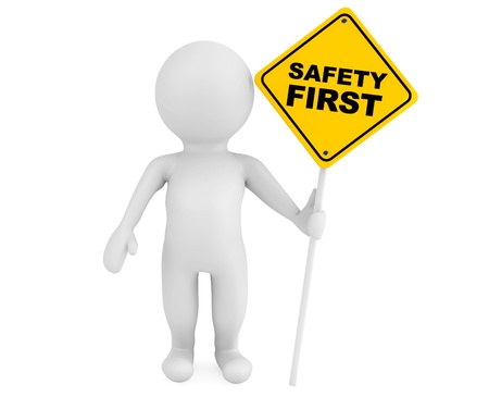 safety first: 3d person with Safety First traffic sign on a white background Stock Photo
