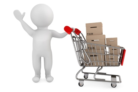 shopping cart icon: 3d person with shopping cart and cargo boxes on a white background