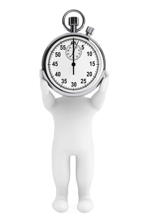 Little human person with Stopwatch on a white background photo