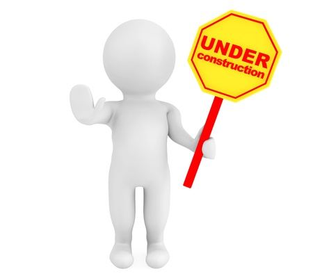 under construction sign with man: 3d person with Under Construction banner on a white background Stock Photo