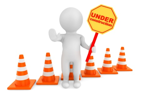 3d person with Under Construction banner and traffic cones on a white background photo