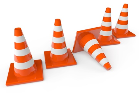 Row of orange plastic traffic cones on a white background photo