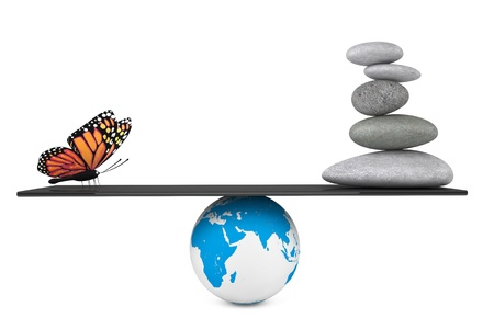 Stone pile in a Zen Garden with butterfly balanced on a Earth globe on a white background