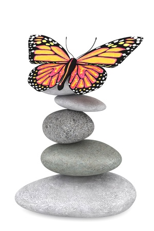 Balanced stones with butterfly on a white background photo
