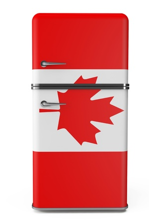 Retro refrigerator with the Canada flag on a white background photo