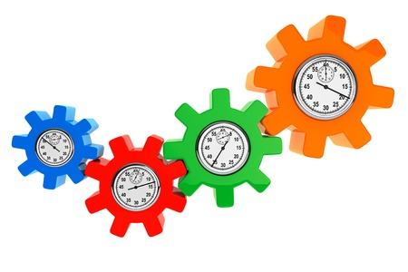 Clocks as color gear wheels on a white background photo