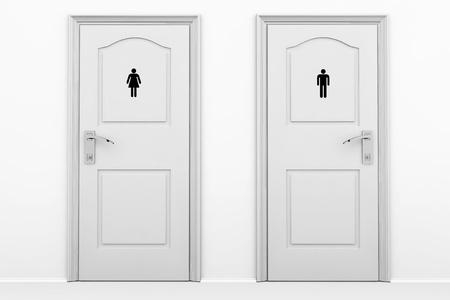 wc: WC Türen für männliche und weibliche Geschlechter in graue Taste Lizenzfreie Bilder