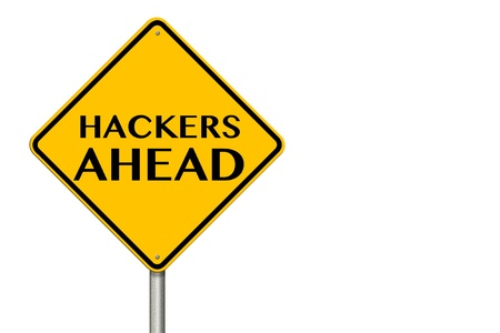 spy ware: Hackers Ahead traffic sign on a white background Stock Photo