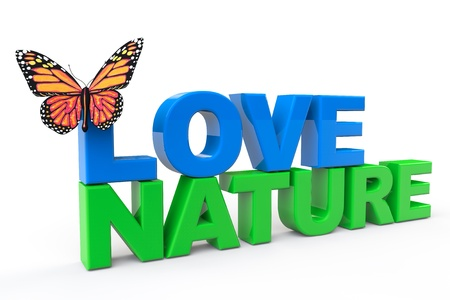 Love Nature Sign with Butterfly on a white background Stock Photo - 20336161