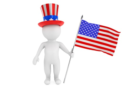 Independence day concept. 3d small person with american flag and hat on a white background photo