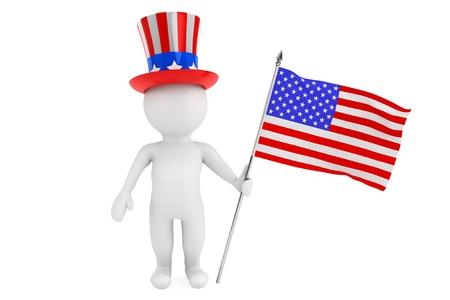 Självständighetsdagen konceptet. 3d liten person med amerikanska flaggan och hatt på en vit bakgrund Stockfoto