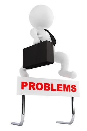 3d Affärsman hoppa över Problem barriären på en vit bakgrund