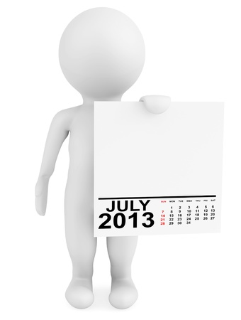 Character holding calendar July 2013 on a white background photo
