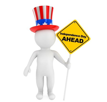declaration of independence: 3d small person with american hat and traffic sign on a white background Stock Photo