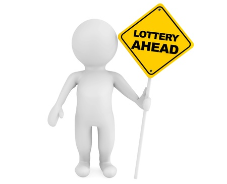 3d person with Lottery Ahead traffic sign on a white background Stock Photo - 20336109