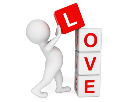 3d person placing Love Cubes on a white background photo