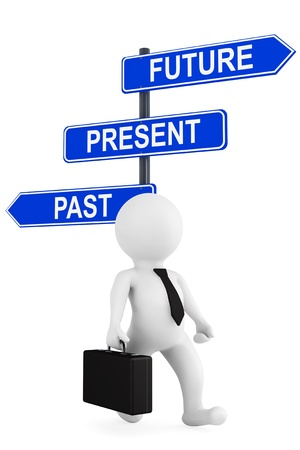 Past Present Future traffic sign with 3d person on a white background photo