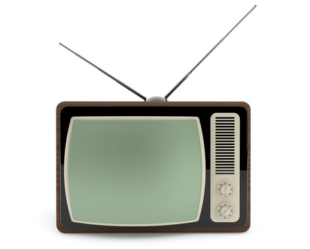 Classic vintage TV on a white background photo