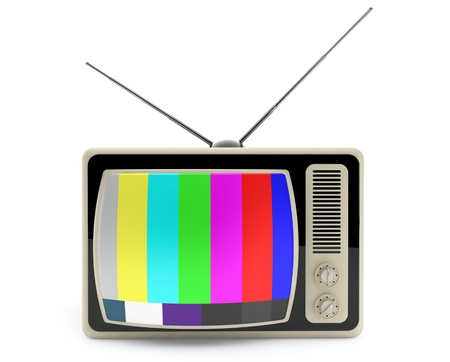 Classic vintage TV with test pattern on the screen on a white background Stock Photo - 20336136
