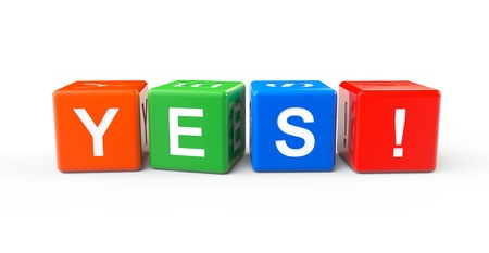 Toy cubes as Yes sign on a white background Stock Photo - 20336118