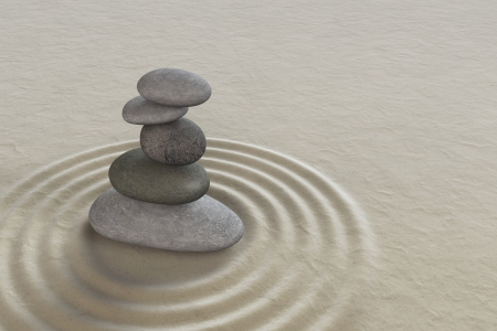 Japanese zen garden meditation stone for concentration and relaxation  photo