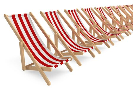 reclining: Row of Beach chairs with white and red stripes on a white background