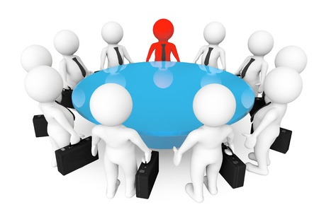 3d persons meeting at conference table on a white background Stok Fotoğraf