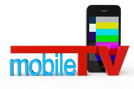 Mobile Phone with Mobile TV sign on a white background Stock Photo