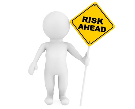 risk ahead: 3d person with Risk Ahead traffic sign on a white background Stock Photo