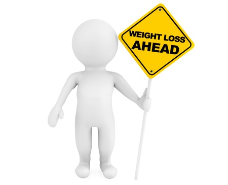 overeat: 3d person with Weight Loss Ahead traffic sign on a white background Stock Photo