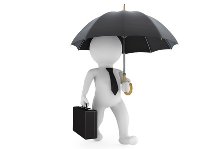 3d businessman under the protection umbrella on a white background photo