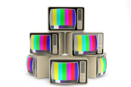 End of television concept. Heap of vintage tv on a white background photo