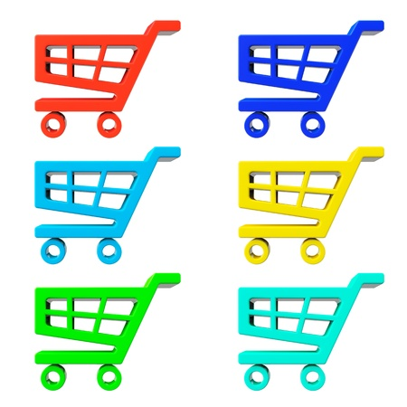 Set of Shopping Cart Icons on a white background photo