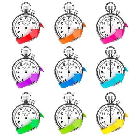 quickly: Fast delivery icon. Set of Stopwatch with color arrow on a white background Stock Photo