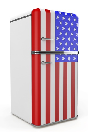 Retro refrigerator with the USA flag on a white background photo