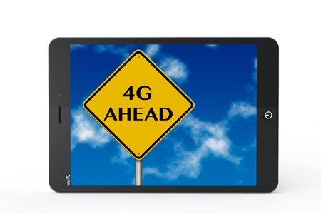 4g ahead sign with tablet PC on a white background photo