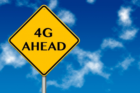 compatible: 4G Ahead traffic sign on a blue sky background Stock Photo