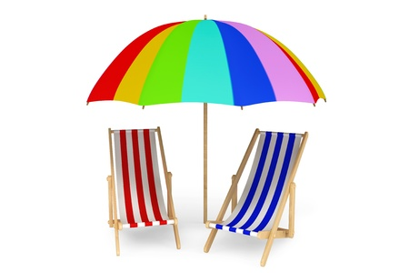 Two beach chairs under sunshade on a white background Stock Photo
