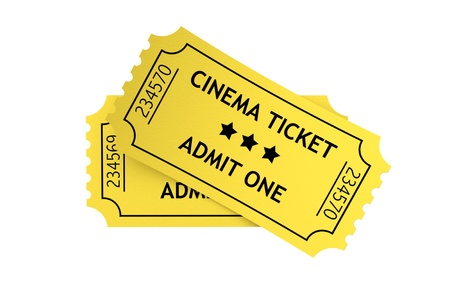 movie ticket: Two yellow cinema tickets on a white background Stock Photo