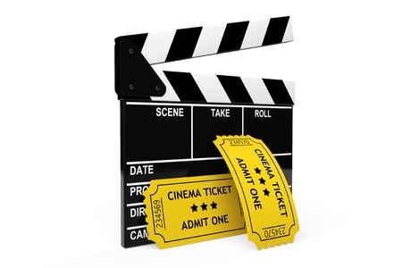 blockbuster: Movie clapper board and admit one tickets on a white background