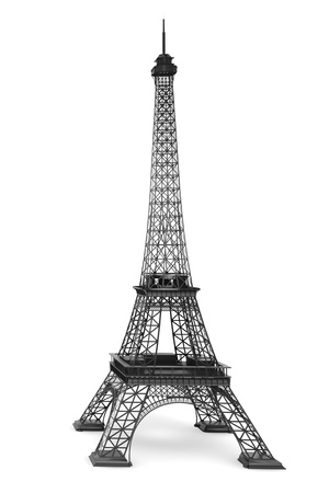3d Eiffel tower on a white background Stock Photo