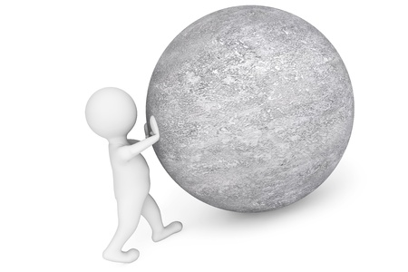 sisyphus: Man pushing sphere as Sisyphus on a white background
