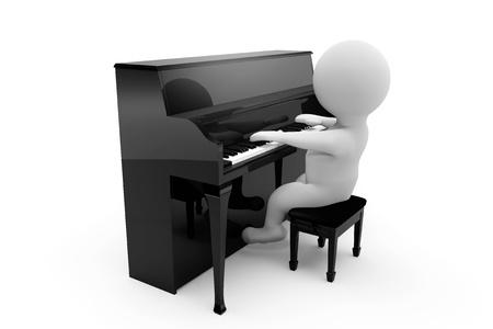3 D の人が、白い背景にピアノを弾く