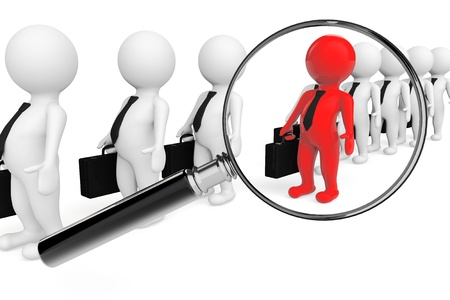 Magnifying lens over grey teamwork with red leader on a white background Stock Photo